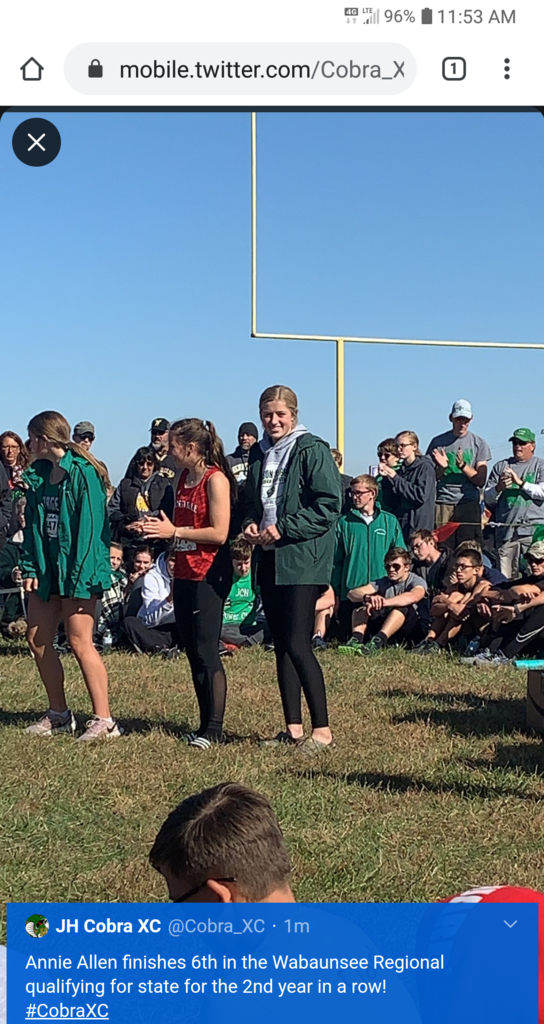 Annie Allen earns 6th place at regional cross country.
